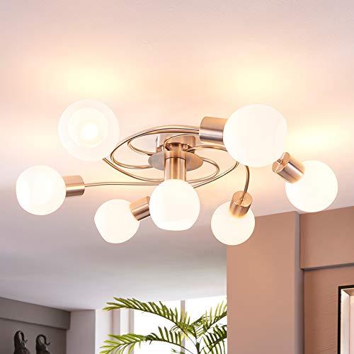 Lindby LED Deckenleuchte 'Ciala' (Modern) in Weiß aus Glas u.a. für Wohnzimmer & Esszimmer (7 flammig, E14, A+, inkl. Leuchtmittel) - Lampe, LED-Deckenlampe, Deckenlampe, Wohnzimmerlampe