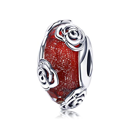 CHENGMEN Rose Flower I Love You Charms Red Murano Grass Beads 925 Sterling Silver Charm Birthday Valentines Jewellery for Her Wife Girlfriend fits Bracelet