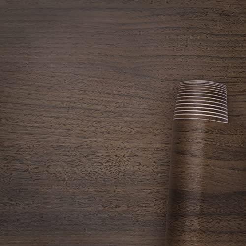 AWNIC Lámina Adhesiva con aspecto de madera, autoadhesiva, grano de madera natural, PVC, resistente al agua, para proteger cocina, muebles, decoración, mesa y armarios (nogal de grano, 500x60cm)