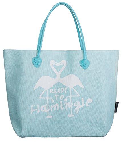 Bari BRANDSSELLER Strandtasche Flamingo Damen Schultertasche Shopper Sommer Tasche Druckknopf Verschluss Größe 53 x 16 x 37 cm - Türkis/Weiß