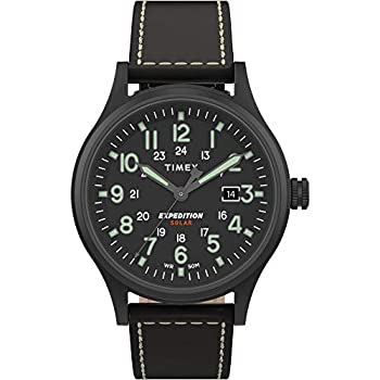Timex Men s TW4B18500 Expedition Scout Solar 40mm Black Leather Strap Watch