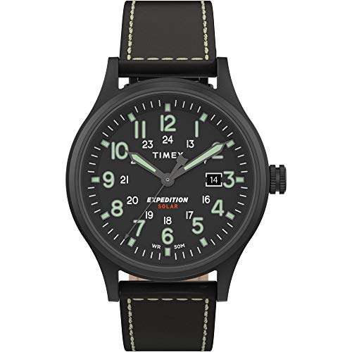 Timex Men's TW4B18500 Expedition Scout Solar 40mm Black Leather Strap Watch