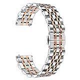 TRUMiRR para Samsung Galaxy Watch3 41mm/Galaxy Watch 42mm Band, 20mm Correa de Reloj de Acero Inoxidable sólido Correa metálica Pulsera para Galaxy Watch 42mm, Garmin Vivomove HR