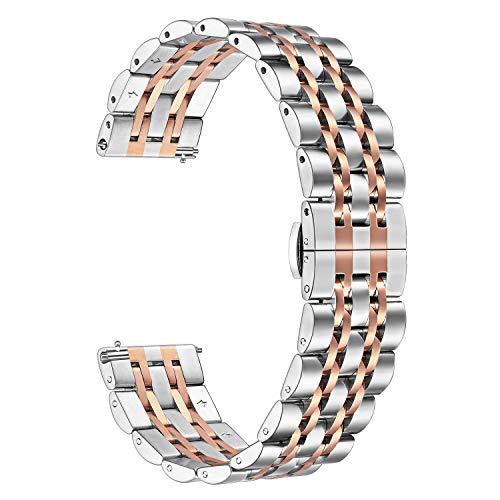 TRUMiRR para Fossil Gen 4 Q Venture HR Band, 18 mm Correa de Reloj de Acero Inoxidable sólido Correa metálica Pulsera para Reloj Huawei 1st / Fit Honor S1, Withings Steel HR 36mm