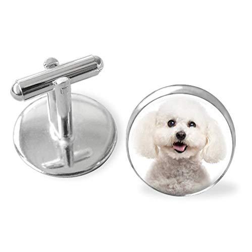 Small Elf Your Bichon Frises Dog's Photo on Cuff Links ,Dome Glass Ornaments, Unique Cuff Links