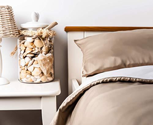 kosier Bettwäsche 135x200 cm mit Kissenbezug 80x80 cm – besonders nachhaltig aus 100% Bambus Lyocell, kühlende Sommerbettwäsche, Allergiker Wendebettwäsche in Beige/Weiß