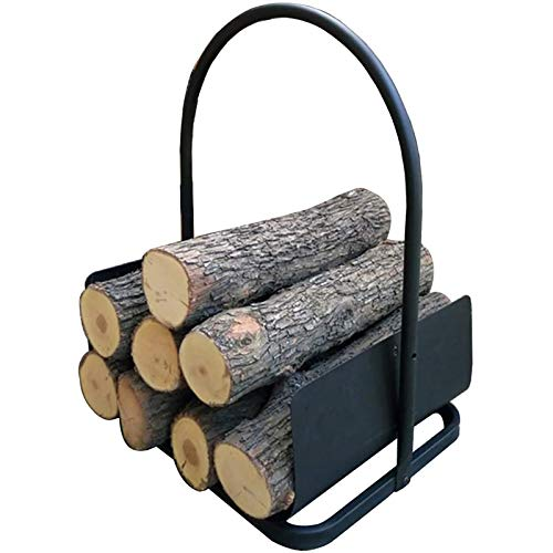 Indoor Small 16inch Firewood Rack Brackets with Scrolls & Handle, Iron Black Log Carrier Wood Storage, Fireplace, Stove and Fire Pit Accessory