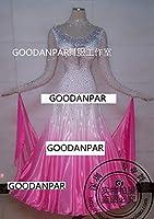 モダン社交ダンス競技試合ドレスワンピース 上品正装ドレスグラデーションモダンドレス白ピンク長袖 色, XL