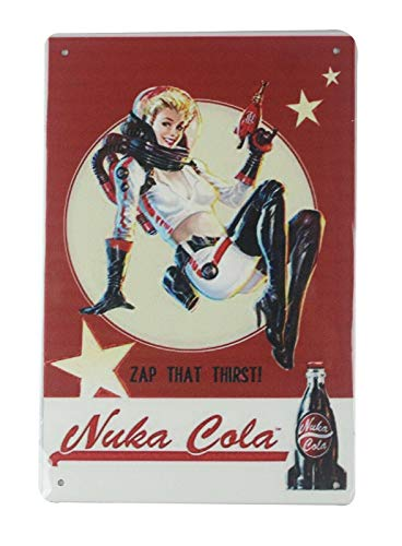 """Metal Tin Sign Vintage Art Decoration Fallout Nuka Cola Girl for Cofe Home Kitchen Office Bar Restaurant Dorm Club or Garage 12"""" X 8"""""""