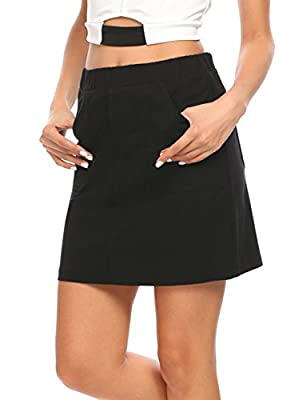 Women's Elastic Waist Sport Skort Active Skirt with Shorts