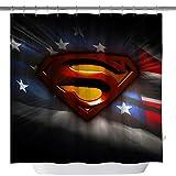 Duschvorhang, Motiv: amerikanische Flagge, Superman-Logo, maßgefertigter, wasserdichter Polyesterstoff, Duschvorhang für Badezimmer, Badezimmer-Zubehör mit Haken, 180 x 180 cm