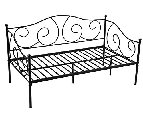 Metal Daybed Twin Bed Frame w/Headboard, Stable Steel Slats Support, Box Spring Replacement Easy Assembly, Mattress Platform Bed Sofa for Living Room Guest Room, Black