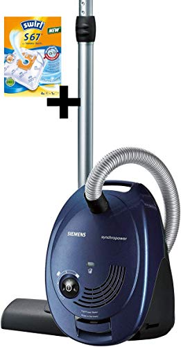Siemens Bodenstaubsauger VS06A111 mit 4 Vorrats-Beutel, sehr niedriger Stromverbrauch, HighPower Motor, XL Beutelvolumen, langes Kabel, Hygienefilter, 600 Watt, blau