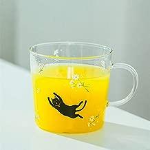 Cat Printed Glass Mug with Handle,Cute Animal Borosilicate Glass Cups Drinking Tea, Latte, Espresso, Juice,Milk(310ml,10.1OZ)