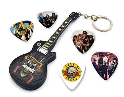 We Love Guitars Guns N Roses Slash WKC 1 Mini-Gitarren-Keyring & 5 X Plektren