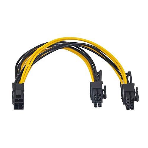 SaiRetail.Com PCI-E 6pin Female to Dual 8pin (6+2pin) Male Video Card GPU Power Cable