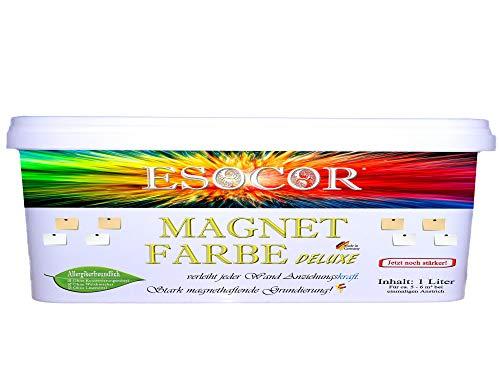 Jetzt noch stärker! 1 Liter ESOCOR MAGNETFARBE DELUXE + 1 Pin Magnet – besonders allergikerfreundlich – stark magnethaftend