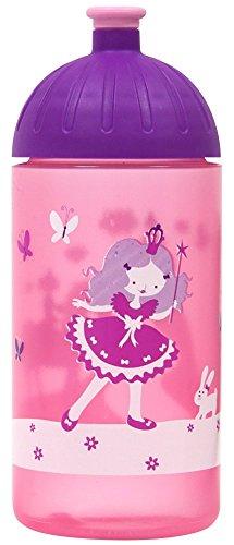 ISYbe Original Marken-Trink-Flasche für Klein-Kinder, 500 ml, BPA-frei, rosa Prinzessin-Motiv für Mädchen, für Schule-Reisen-Kita-Kiga-Outdoor, Auslaufsicher auch mit Sprudel, Spülmaschine-fest