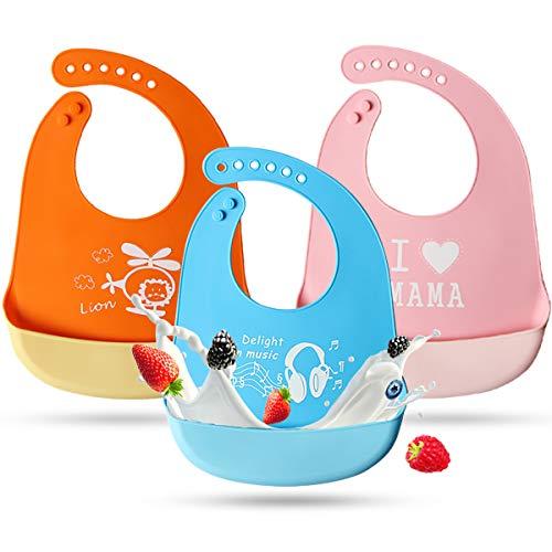 Letilio 3 Piezas Baberos Impermeable de Silicona de Alimenticio EVA para Bebé con Dibujos, Bolsillo de Saliva Súper Suave y Súper Ligero