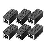RJ45 Coupler, in Line Coupler Cat7/Cat6/Cat5e Ethernet Cable Extender Adapter Female to Female (6 Pack Black)