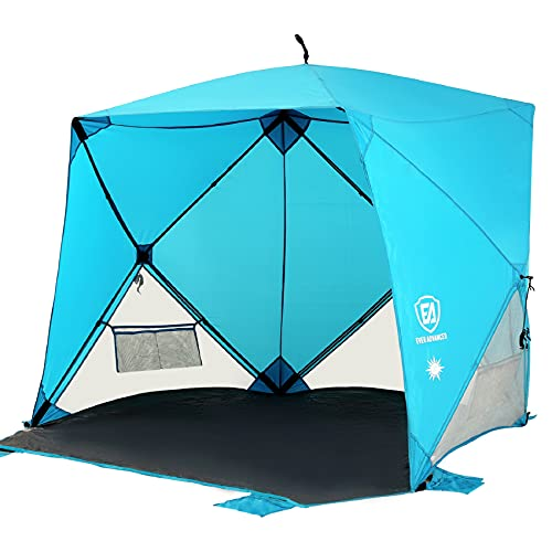EVER ADVANCED Pop Up Beach Tent Portable Sun Shade Travel Sun Shelter for 2-3 Person, Easy Setup Tents Waterproof Cabana Canopy with Carry Bag UPF 50+ Sunshade Outdoor, Blue