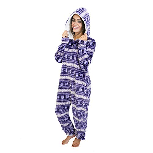 Cherokee Women's Onesie Plush Fabric Hooded Pajama Sleepwear, Fair Isle, Medium