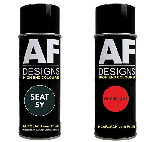 Alex Flittner Designs Autolack Spraydose Set für SEAT 5Y GRIS Zenit PERLADO Basislack Klarlack Sprühdose 400ml