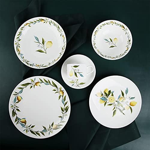 Juego de vajilla,plato de porcelana esmaltado, tazón de sopa para el hogar, conjunto de combinación, plato de cena, plato de sopa(6 piezas, diseño rústico moderno, apto para lavavajillas)