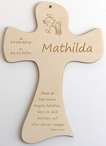 Taufkreuz aus Holz personalisiert mit Taufspruch, Geschenk zur Geburt und Taufe für Patenkind