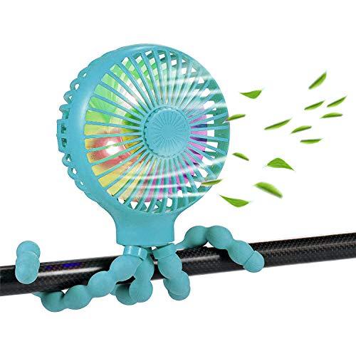 Mini ventilador de cochecito de mano, ventilador de escritorio versátil y versátil giratorio de 360 ° con trípode flexible, ventilador USB recargable con luces LED (Azul)