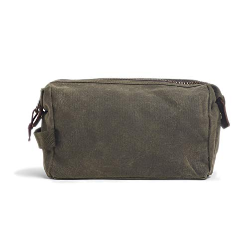 Travel Toiletry Bag Green Price 12 x 25 x 11 cm Waxed Green Fabric Details Leather Water Repellent for Men and Women Waterproof Organiser HOOK 4008