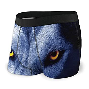 Mantaiyuan Men s Boxer Briefs Wolf Face Eyes Double-Side Printed Funny Underwear Polyester Spandex  S-XXL