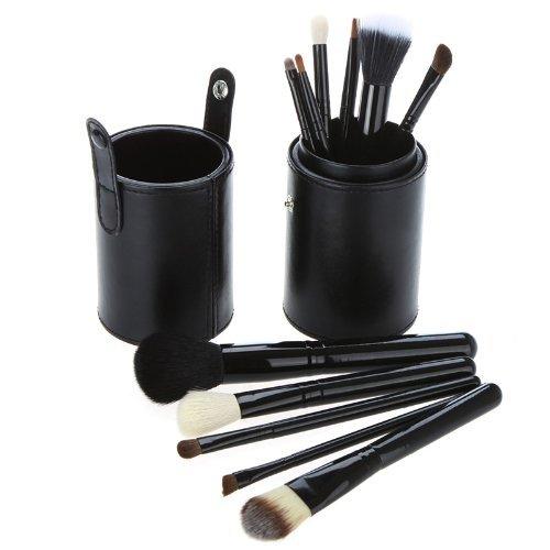 Coupe Cuir Noir Ensemble De 12 Maquillage Pinceaux - Poils De Chèvre/Pony/Synthetic, Virole en Aluminium, Manche En Bois Naturel by CASCACAVELLE