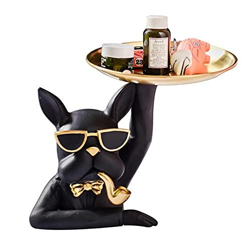surfsexy Bandeja de joyería, Bulldog Figura Ornamento Holding Bandeja para animales de resina para merienda, almacenamiento de arte, caramelos, decoración del hogar, 19 x 21 cm