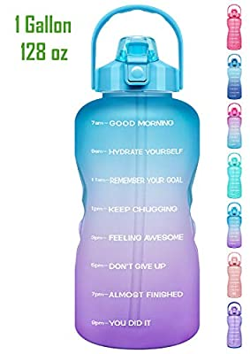 Venture Pal 1 Gallon Large Motivational Sports Water Bottle with Time Marker & Straw, Leakproof BPA Free Reusable Fitness Water Jug for Gym,Work and Outdoor Sports-Ombre Green Purple