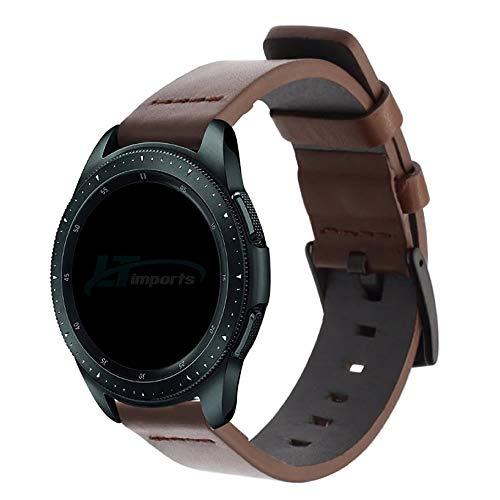 Pulseira de Couro 20mm compatível com Samsung Galaxy Watch Active 40mm 44mm - Galaxy Watch 3 41mm - Galaxy Watch 42mm - Amazfit GTR 42mm Amazfit Bip - Marca LTIMPORTS (Marrom-Escuro)