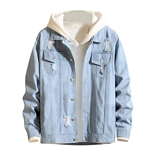 ZHANSANFM Herren Jeansjacke Vintage Washed Destroyed Patchwork Denim Jacke Zerrissen Trucker Oberteile Jacket Mode Revers Loose Fit Sweatjacke Tops Button Down Outwear Mantel (XL, Hellblau)