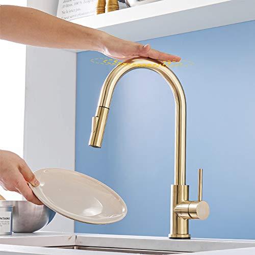 Rozin Berühren Küchenarmatur 360° drehbar Gold Armatur Küche ausziehbar Wasserhahn 2 Strahlarten Brause Spüle Mischbatterie Einhandmischer Küchenarmatur