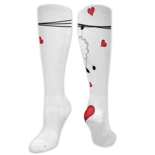 Calcetines altos de compresión con efecto de garabateo, colorear, diseño de Hello Sunshine con flores, calcetines para mujeres y hombres, ideal para correr, atletismo, senderismo, viajes, vuelo.