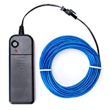 Amicc® 3m 9ft Portable Neon Light El Wire with Battery Pack Neon Glowing Strobing Electroluminescent Wire for Parties, Halloween Decoration (3m 9ft, Blue)