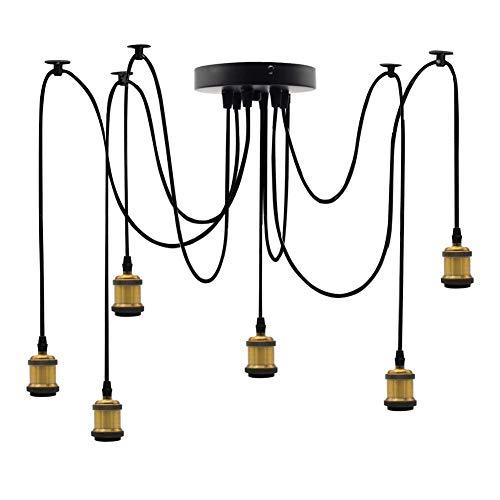 DIY Spider-Kronleuchter Vintage Pendelleuchte Hängeleuchte Höhenverstellbar 2m, Retro Industrie Deckenleuchte 6-Flammig Schwarz Hängende Lampen für Wohnzimmer Küche Esszimmer Bar Cafe,Gold