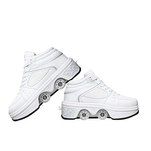 Inline-Skate Rollschuh Roller Skates Lauflernschuhe,2 In 1 Mehrzweckschuhe Sneakers Schuhe Mit Rollen Skateboardschuhe,White-EUR38