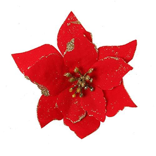 CUSFULL 12Pcs Flores Artificiales Navideños con Brillos, Flor Rojo de Pascua con Purpurina, Diámetro 5.1 ''(13 cm), Adorno de Árbol y Sillas para Navidad, Bodas, Fiestas, Nochevieja