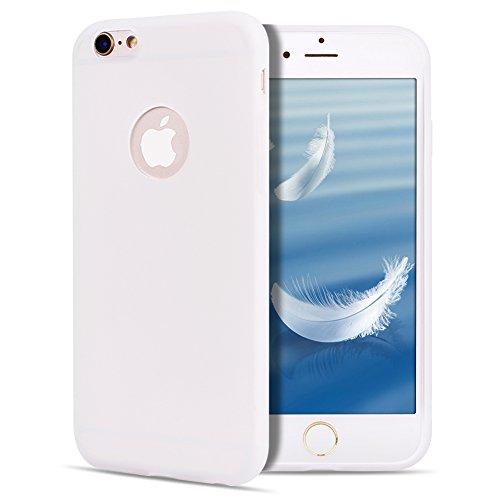 SpiritSun Funda para iPhone 6 / 6S Plus Soft TPU Silicona Handy Candy Carcasa Funda para Huawei P10 Lite Suave Silicona Piel Carcasa Ultra Delgado y Ligero Goma Flexible Phone Case Cover - Blanco