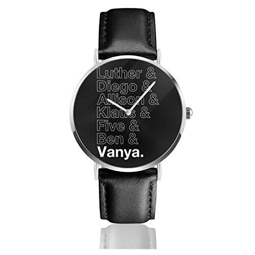 Unisex Business Casual Umbrella Academy Nombres Esquemas Relojes Reloj de Cuero de Cuarzo con Correa de Cuero Negro para Hombres Mujeres