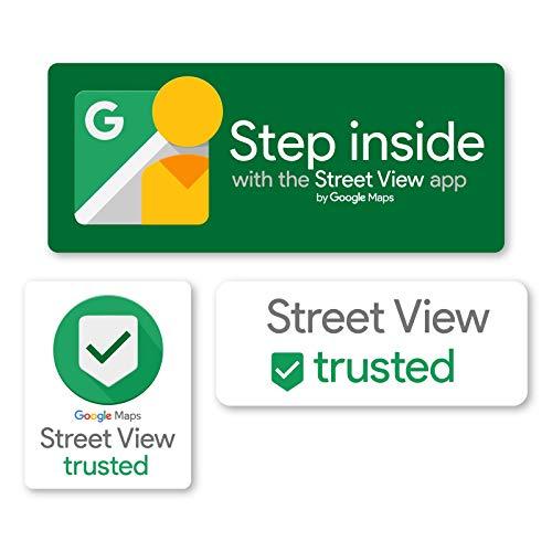 Pack van Google Street View Trusted Signs, Clear Zelfklevende Vinyl Sticker, Raam, Deur, Muurstickers