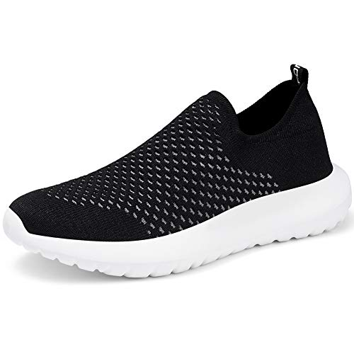 LANCROP Women's Sock Walking Shoes - Comfortable Slip on Easy Office Sneakers 11 M US, Label 43 Black
