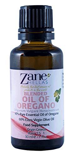 Zane Hellas 40% Aceite de Orégano. Aceite esencial de orégano griego puro.86% Min Carvacrol. 52mg de Carvacrol por porción. Probablemente el mejor aceite de orégano del mundo. 1 fl.oz- 30 ml