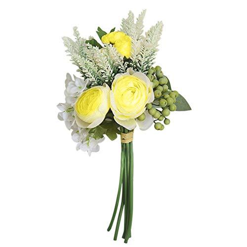 Garretlin - 1 ramo de flores artificiales artificiales de seda de bayas artificiales para jardín, fiesta, boda, día festivo, Flor de seda, Amarillo, talla única
