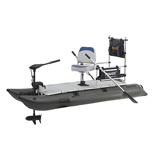 AQUOS 2021 New Backpack Series FM310 10.2ft Inflatable Pontoon Boat with Guard Bar, Folding Seat and Haswing Bow Mount 12V 55LBS Hand Control Trolling Motor for One Person Fishing